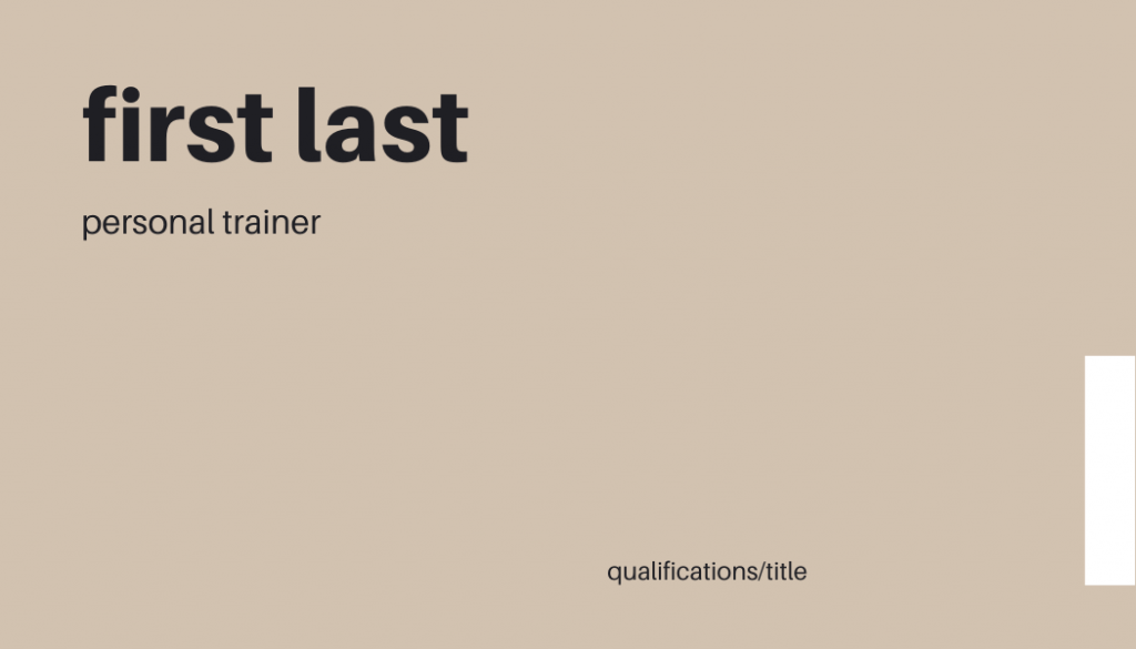 Minimal personal trainer business cards